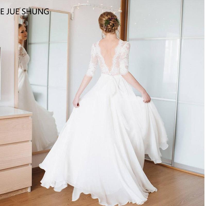 E JUE SHUNG White Chiffon Lace Boho Wedding Dresses V-neck Half Sleeves Backless Beach Wedding Gowns Bride Dress Robe Mariage