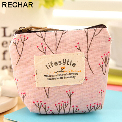 Printing flower Small Canvas Women Coin Purse Fresh Zip Wallet Lady Money Case Card Bag Handbag Key Holder High Quality