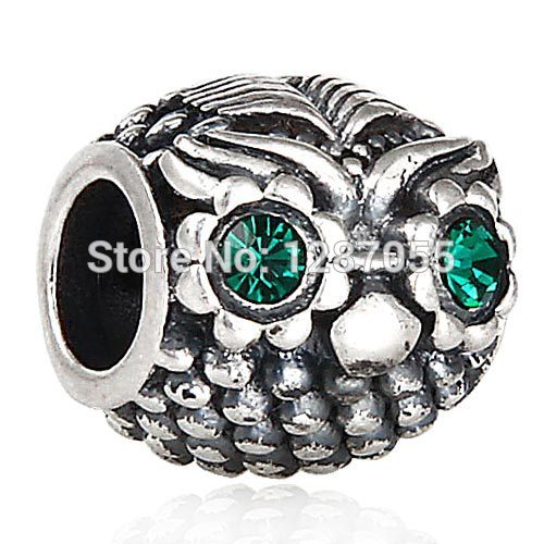 Halloween gifts 925 Sterling Silver Owl Head beads for women fit pandora bracelets & Necklaces Charms Green Crystal Jewelry