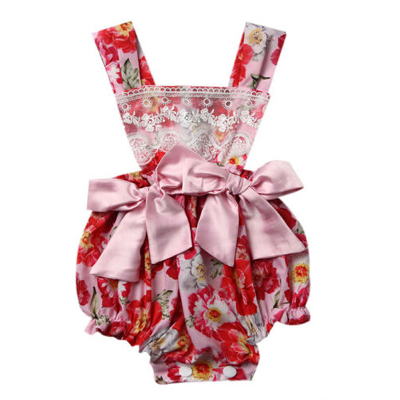 Newborn Baby Girls Floral Romper Ruffle Backless Jumpsuit Outfits Sunsuit Summer Baby Infant Onesie Clothes 0-2T newborn infant baby clothes girls love floral strap romper jumpsuit outfit sunsuit summer cotton baby onesie girls clothing