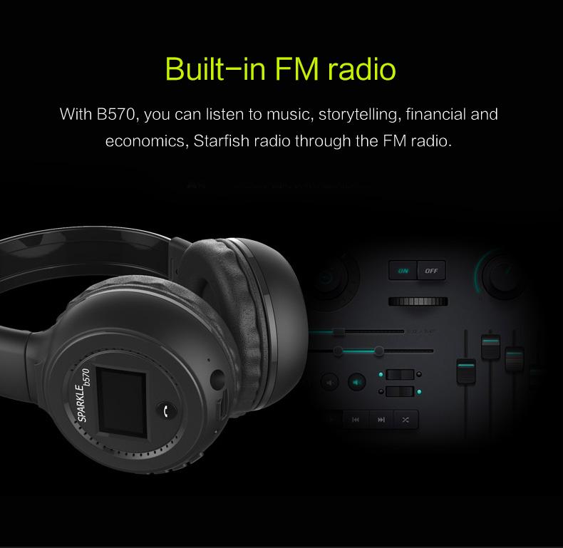 Zealot B570 Earphone Headphone with LCD Screen Bluetooth Headphone Foldable Hifi Stereo Wireless Headset FM Radio TF SD Slot 15