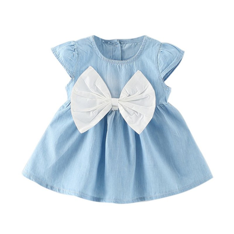 Baby Girls Bow-knot Design Mini Dress Children Baby Summer Style Fashion Short Sleeve Party Dress Kids Clothes