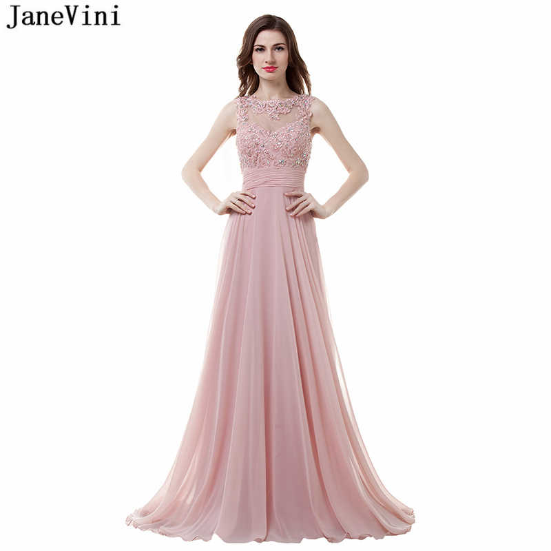 JaneVini Elegant Chiffon Beaded Long Bridesmaid Dresses O-Neck Lace Appliques Backless Sweep Train Glamorous A Line Prom Gowns