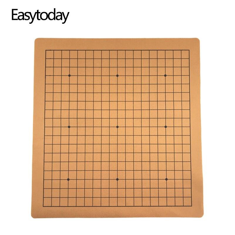 Easytoday Weiqi échiquier chinois Go jeu échiquier cuir synthétique daim un côté 19 ligne Standard International