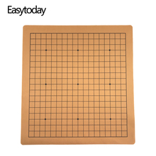 Easytoday Weiqi Chess Board Chinese Go Game Chessboard Synthetic Leather Suede One Side 19 Line Standard International