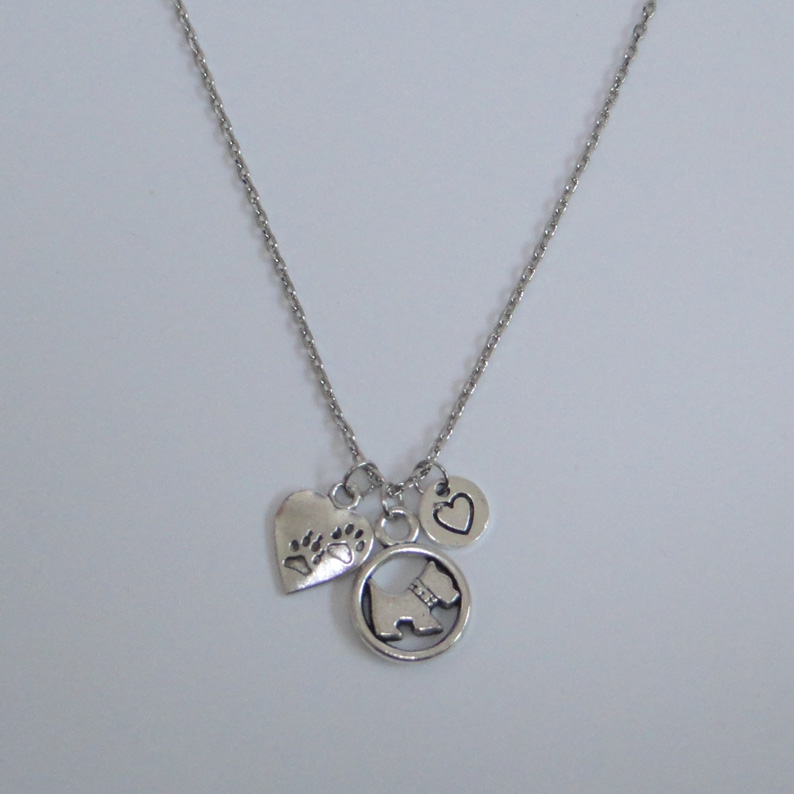 Antique Silver Love My Dog Dog Paw Heart Necklace-Westie Necklace 18 Chain Necklace Pendant On Sale