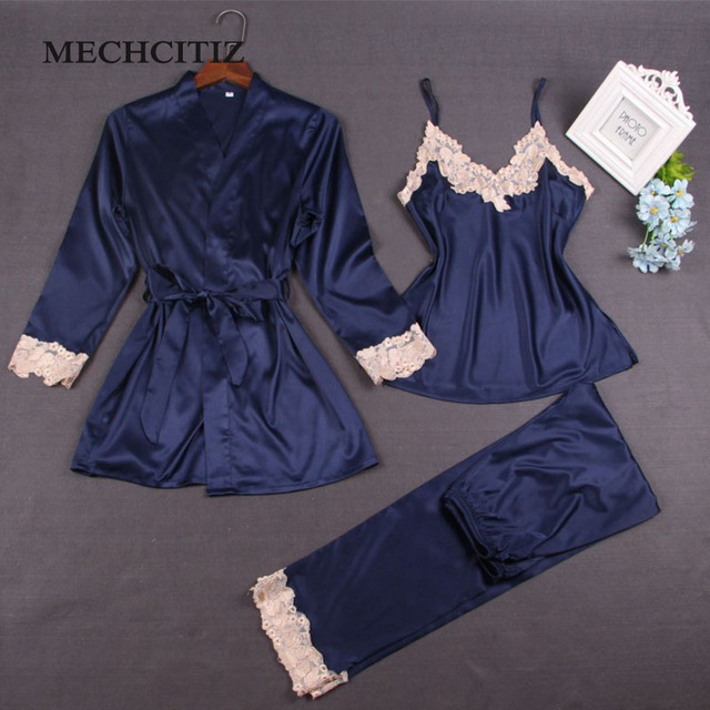 MECHCITIZ 2019 Pajama Sets European Style Ladies Pajamas Vest Robe And Pants  3 Pieces Set Embroidered Flower Suit Sexy Nightgown 0b9cfad2d40