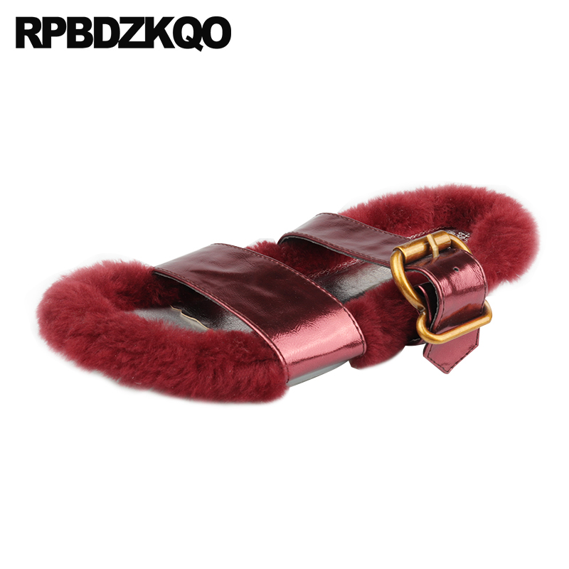 6650dc7f3dd Cute Designer Gold Sandals Embellished Women Slippers Kawaii Luxury Slides  Cheap Fur Strap Furry Flat Fluffy ...