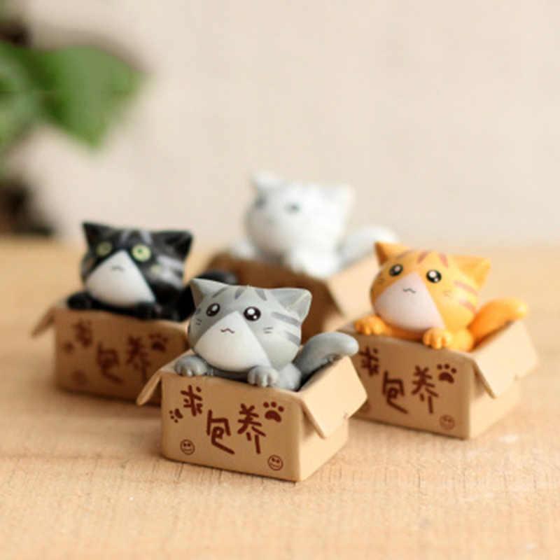 ZOCDOU, 1 unidad, caja de dibujos animados, gatito, gatito, modelo pequeña, estatua de coche, figurita artesanal, figura para el jardín, ornamento miniaturas DIY