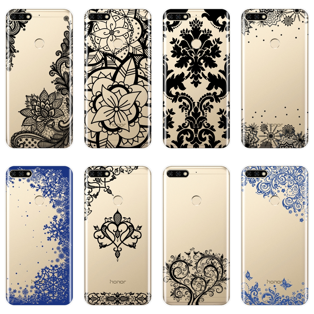 Soft Silicone Phone <font><b>Case</b></font> For Huawei <font><b>Honor</b></font> 7 8 <font><b>9</b></font> 10 <font><b>Lite</b></font> Lace Back Cover For Huawei <font><b>Honor</b></font> 8X MAX 10 <font><b>9</b></font> 8 7 7S 7X 7A 7C Pro <font><b>Case</b></font> image