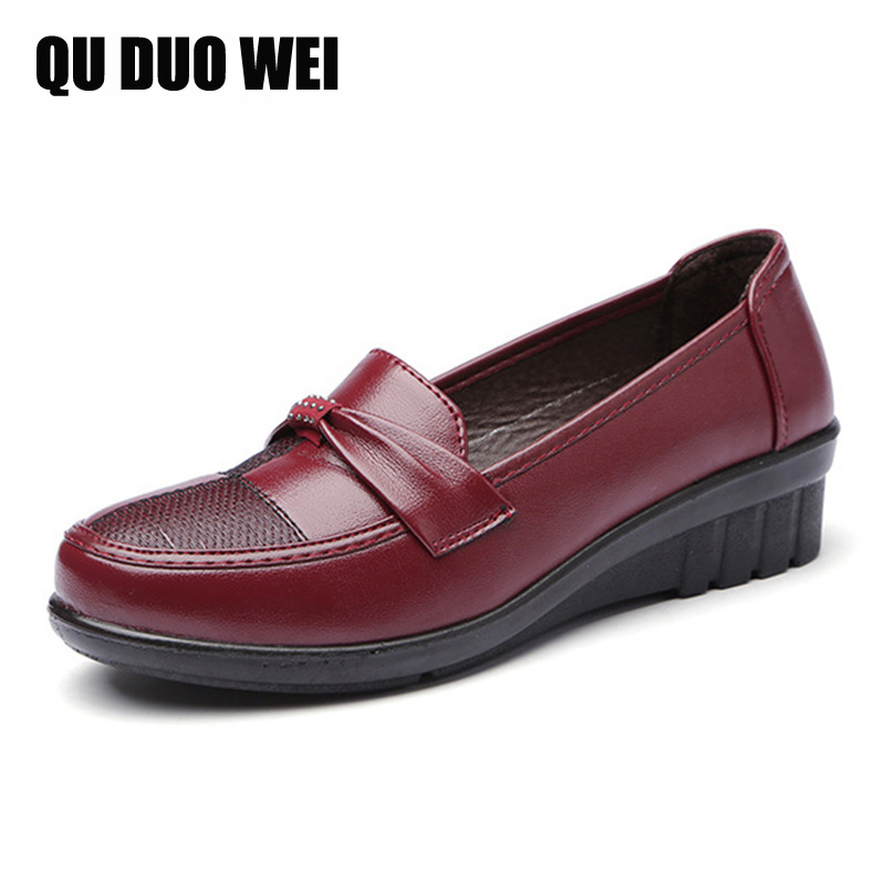 2018 New Spring Ladies Shoes Woman Loafers Fashion Bowtie Women Slip On Flats Non-Slip Mother Single Comfortable Work Shoes new hot 2018 fashion brand women cartoon loafers flats shoes woman casual slip on platform shoes ladies comfort shoes size 35 40