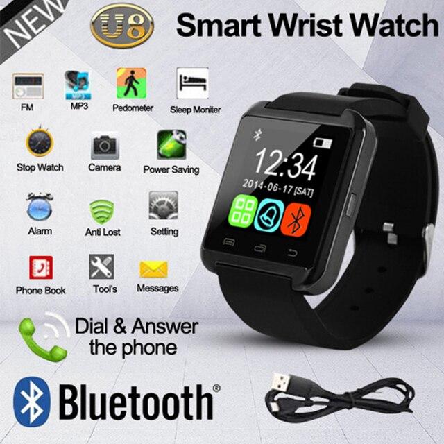 U8 Bluetooth Smart часы Для мужчин SmartWatch 2017 шагомер анти-потерянный  Сенсорный экран спортивные наручные bca554c9a9c0c