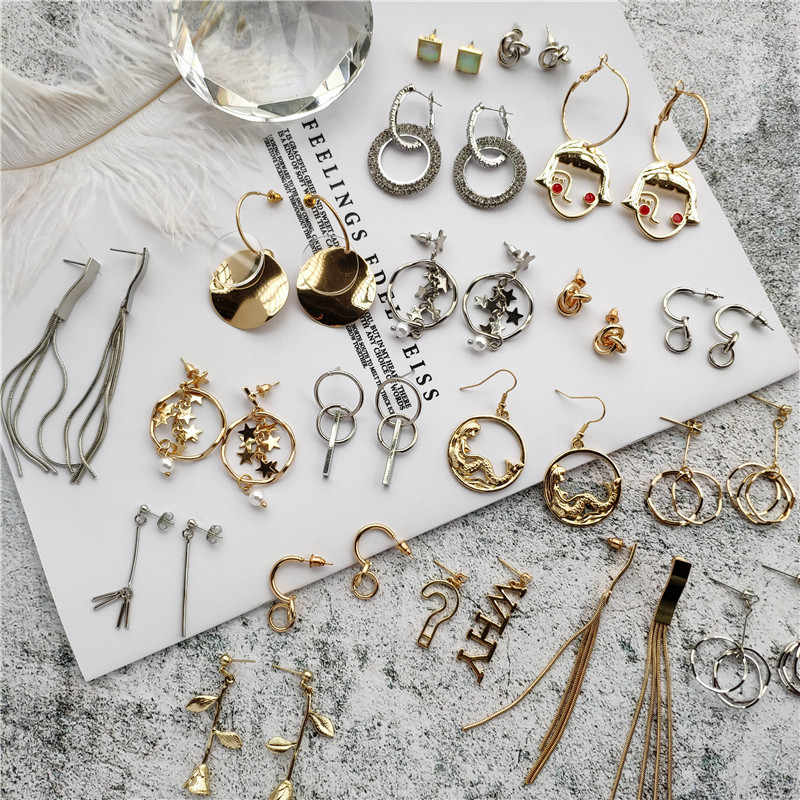 Fashion Geometris Putaran Drop Anting-Anting Temperamen Sederhana Star Rumbai Liontin Anting-Anting Perempuan Hadiah Perhiasan