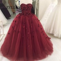 ZYLLGF Romantic Wine Red Mother Dresses Puffy Sweetheart Tulle Lace Up Back Party Dress With Flowers Robe De Noche RS154