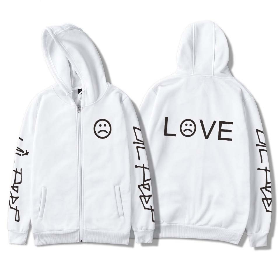Hoodies Jumper SU Unisex Rapper Lil Peep LOVE Sweatshirt Sad Face Pullover