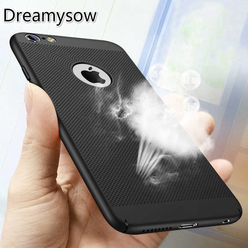Dreamysow Hollow Heat Dissipation Hard PC for iPhone X 10 8 7 6 XS max XR 6S Plus 5S SE Phone Case Matte Protective Cover Coque a1lj hollow out butterfly style protective plastic back case for iphone 5 5s blue orange