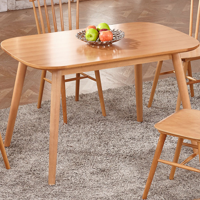 Madera maciza mesa de comedor minimalista moderno rectangular mesa ...