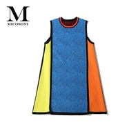 2018 Fall High Fashion New Brand European and American Women's Sleeveless Sweater Dresses Blue Yellow Orange Red Black Patchwork