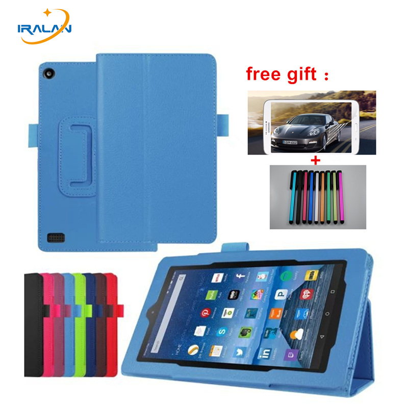 Luxury Litchi Skin PU Leather Stand Case For Amazon kindle fire HD 7 2015 7.0 tablet  Flip Folio Cover+Stylus+Protective Film new kindle fire hd8 flip pu leather case cover colorful print luxury protective stand shell for amazon new kindle fire hd 8 2016