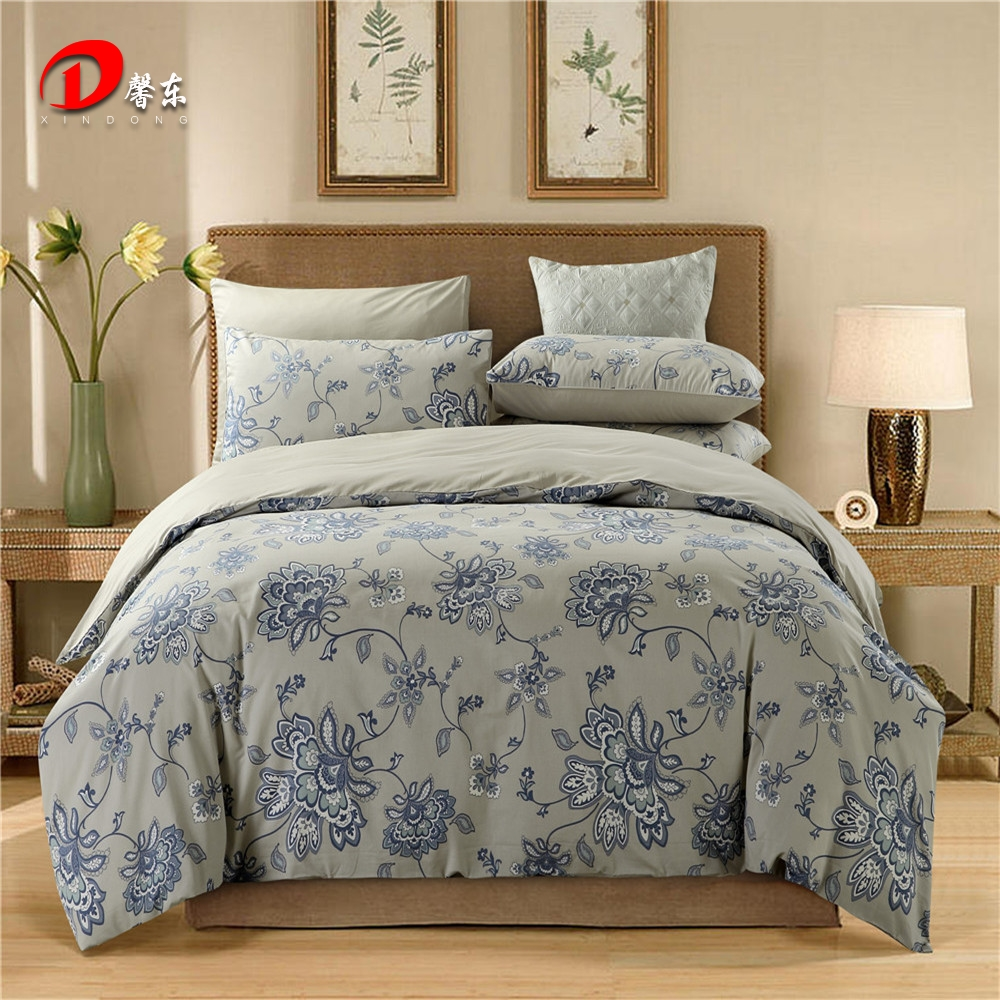 Yellow and gray floral bedding - Luxury Satin Bed Linen Egyptian Cotton Bedding Set King Queen Size High Quality Blue Floral Bed