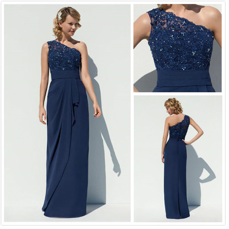 Popular Navy Blue Long Bridesmaid Dress-Buy Cheap Navy Blue Long ...