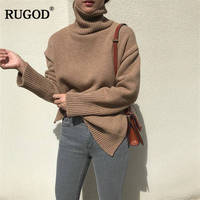 RUGOD New Turtleneck Women Sweaters Casual Solid Knitted Women Pullovers Long Sleeve Warm Autumn Winter Clothes pull femme hiver