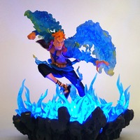 One Piece Figurine Toys Marco Led Fire Effect Base Anime One Piece Action Figures Edward Newgate Ace Luffy Marco Toy For Xmas