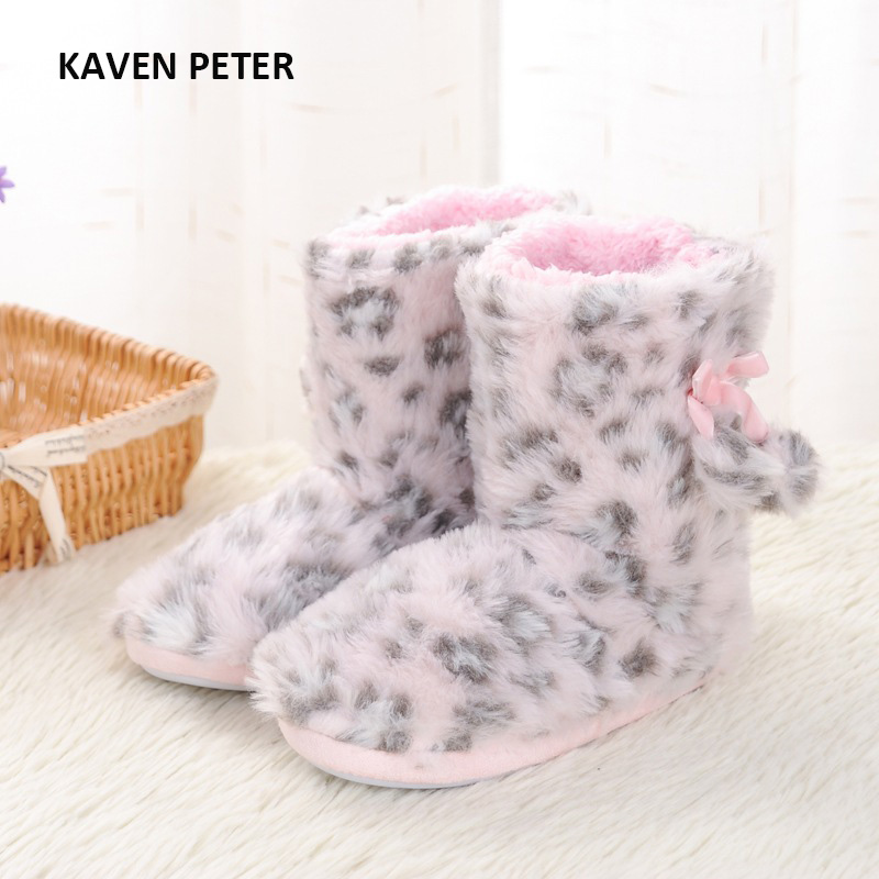 2017 winter home shoes plush shoes pink Leopard kids Indoor shoes girls warm boots children slippers size 7-4