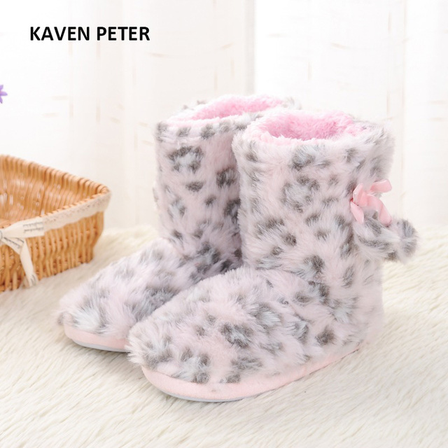 eb217b00ff3 2017 winter home shoes plush shoes pink Leopard kids Indoor shoes girls  warm boots children slippers size 7-4