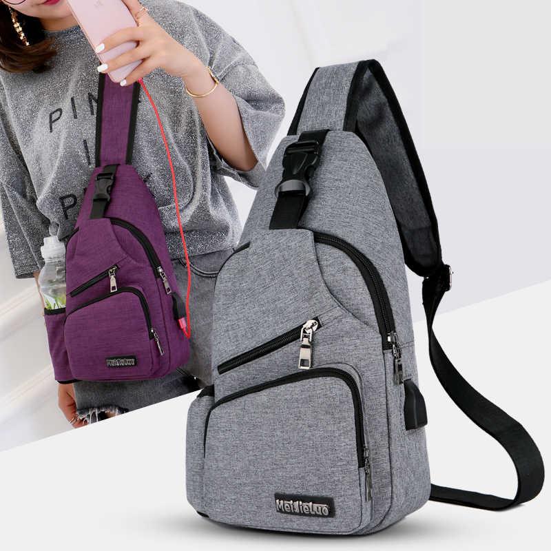Bolso de pecho para hombre con bolsillo de botella lateral bolso de lona hombro (Interfaz de carga USB) satchel grande bandolera Charing bolsa 2019