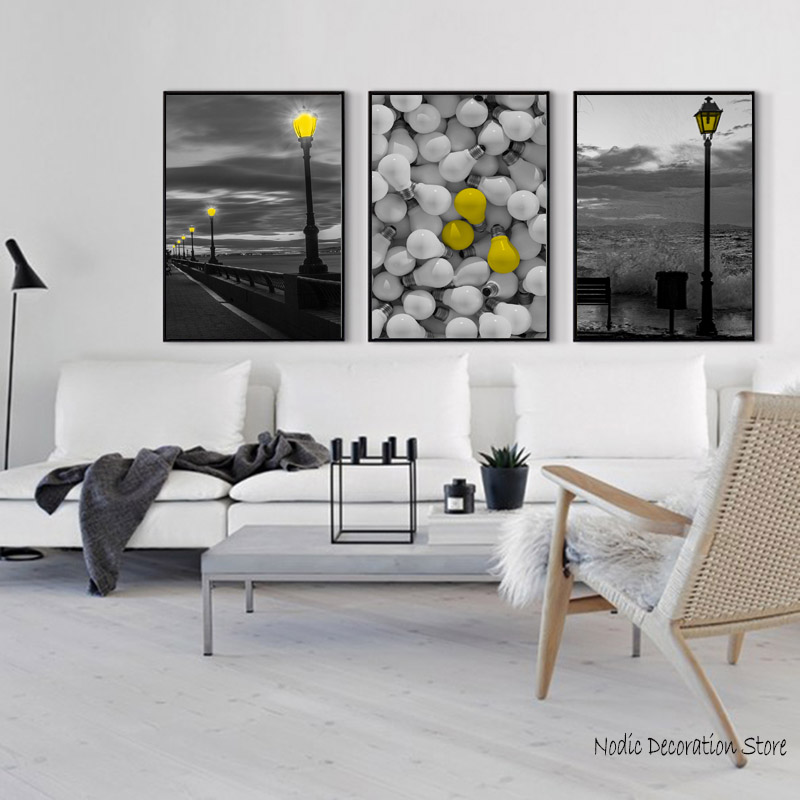 poster yellow  gray picture nordic black light poster