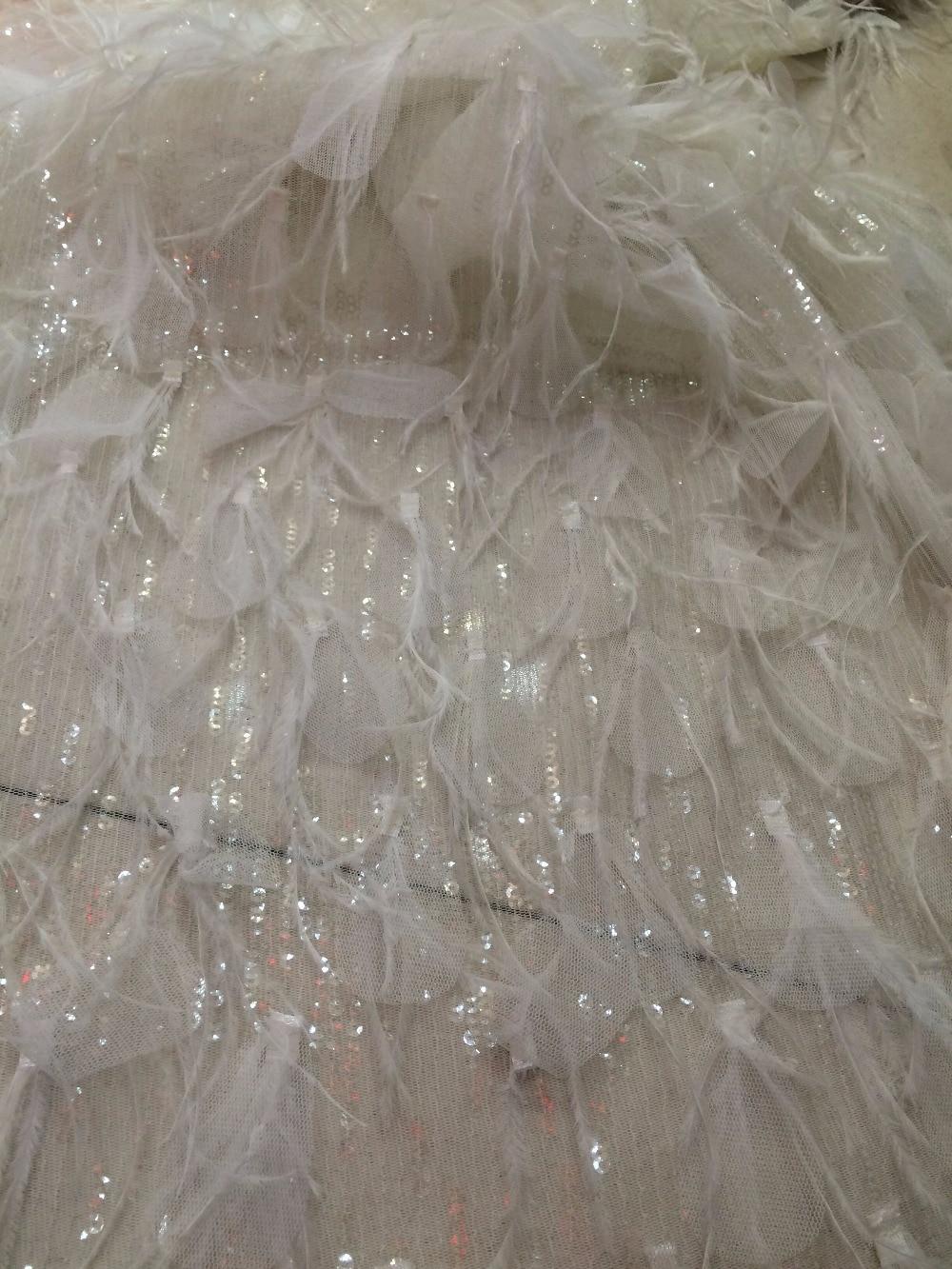 Ev ve Bahçe'ten Dantel'de Işlemeli Dantel Kumaş tüy ile ZH 1298 Sıcak Satış sequins Afrika tül Dantel Kumaş Için Parti elbise'da  Grup 1