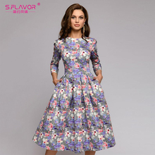 S,FLAVOR women Autumn Winter dress hot sale Casual Style printing long
