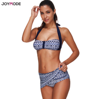 JOYMODE Sexy Bikini Women Two Pieces Bikini Set Halter Neck Push Up Print Swimsuit Swimwear Skirt