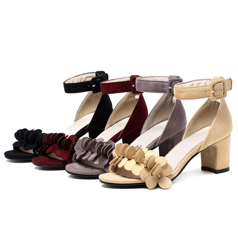 9c775d17fb86 Shoes type   Fashion peep toe high thick heel buckle sandals for women. 3 9  10 11 12 8 ...