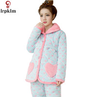 Thick Coral Fleece Plush Winter Warm Women Lounge Pajama Sets Lovely Neck Flannel Red Long Pyjamas