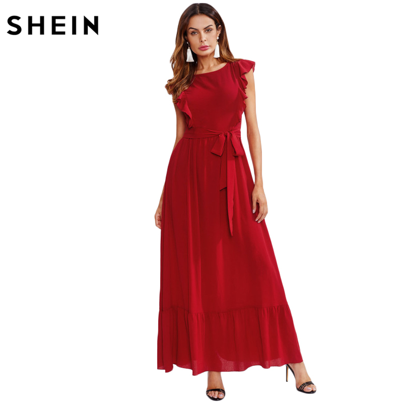 Shein Ruschen Schulter Und Saum Selbst Gurtel A Linie Kleid Rot