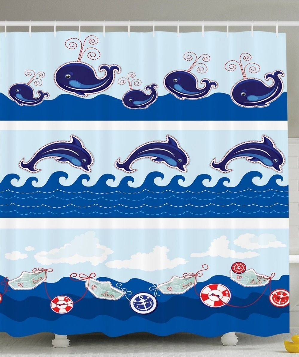 Fish shower curtains for kids - Shower Curtain Sea Animals Dolphins Fish Ocean Waves Kids Printing Waterproof Mildewproof Polyester Fabric Bath Curtain Set
