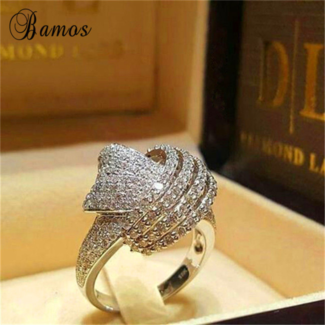 Bamos Cross-Ring Retro Jewelry Gold-Filled Winding-Knot Promise White Hollow Women