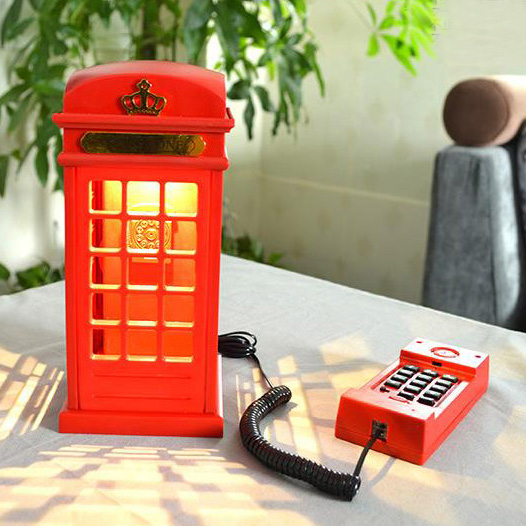 British telefone Red mini telephone kiosk Corded phones for home Desk lamp fixed Telephone bedroom kids childen telefono fijo