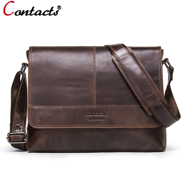 Contact's Genuine Leather Bag Men Shoulder Bag Messenger Bag Men Leather Handbag Male Cross Body Bag Travel Vintage Famous Brand wire man bag 2017 handbag male shoulder bag cross body bag commercial document bag