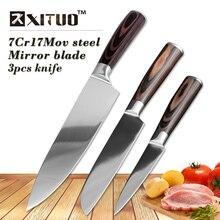 """XITUO 3 unids cuchillos de cocina set 8 """"5"""" 3.5 """"japonés cuchillo cocinero cuchillo Rebanador Santoku Utilidad de Salmón de Alimentos de Cocina herramientas regalos"""
