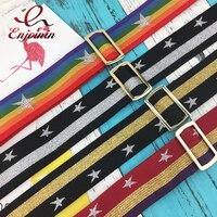 New Fashion Stitching Color Stripes Star Pattern Metal Buckle Ladies Handbag Shoulder Strap Bag Accessories Belt