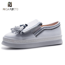 Prova Perfetto women loafers fahsion fringe decor slip on lady shoes black white genuine leather comfort flats platform shoes