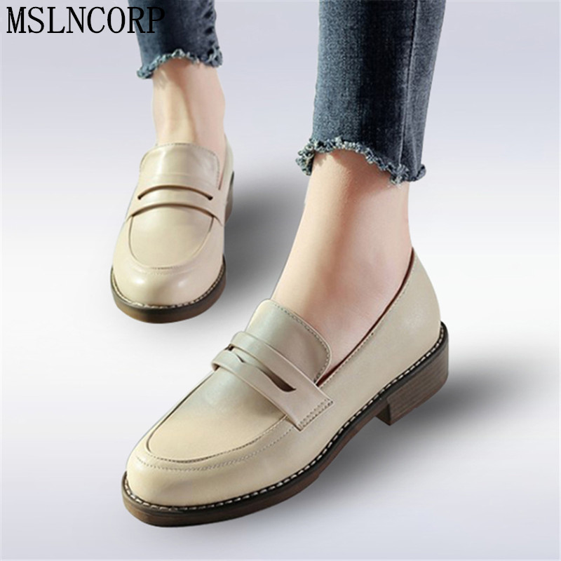 Plus Size 34-43 New Fashion Spring Autumn Women Flat Round Toe Oxford Shoes Woman Soft Leather Loafers comfortable casual Shoes фонарь led lenser f1 цвет черный