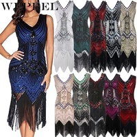 WEPBEL Vintage Dress Great Gatsby Dress 1920s Sequin Flapper Dress Prom Tassel Hem Dress