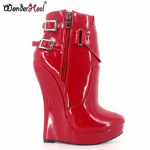 Wonderheel New patent leather extreme high heel 18cm with 3cm platform wedge ankle boots short boots sexy boots with buckles(China)