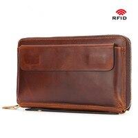 Wallet men long wallets top layer leather handbag purse