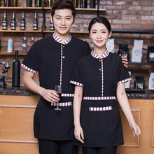 Hotel Uniform Short Sleeved Summer Female Fast Food Restaurant Cafe Tea Shop Waiter Work Clothes Summer J131(China)