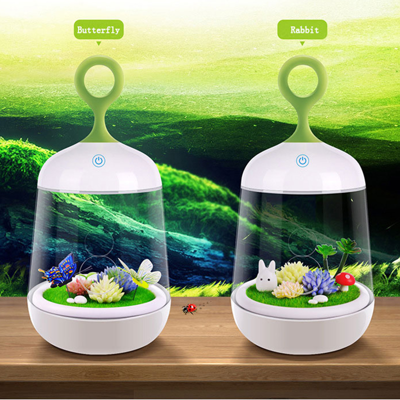 Within Butterfly Rabbit LED Night Light Micro Landscape Plant Creative DIY Night-Light Small Gift USB Charging LED Colorful Lamp colorful waterdrop cartoon led charging night light